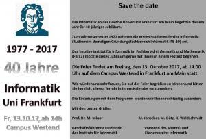 Einladung 40 Jahre Informatik an der Goethe Universität