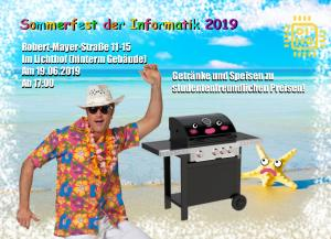 Plakat Sommerfest Informatik am Mittwoch 19. Juni ab 17 Uhr im Lichthof Informatik, RMS 11-15